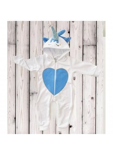Quzucuk Kids Erkek Bebek Mavi Figürlü Polar Tulum Renkli